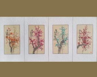 Cherry blossom painting,original chinese painting,set of 4 colour blossom painting,oriental art,chinese watercolour painting