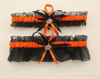 Black and Orange Wedding Garter Set with Oklahoma State University Colors, Bridal Garter, Prom Garter  (Your Choice, Single or Set)