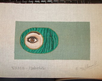 Brown Eye Needlepoint Canvas Handpainted signed by artists