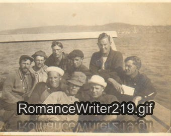 Vintage Photo Handsome Men Laying on a Wooden Dock