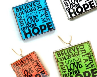 Inspirational words, positive influence, cubicle decor, word art, believe ornament, typography art, encouragement, Christmas ornament