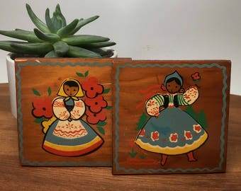 Tiny Folksy Girls Printed on Wood