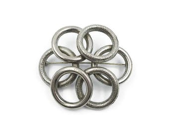Vintage Silver Puffy Circle Rings Modernist Brooch - Silver Tone Brooch, Large Brooch, Vintage Brooch