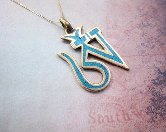 Tibetan Charm Necklace -- Turquoise & Brass Necklace -- Om Pendant Necklace -- Om Symbol Necklace -- Gold Om Necklace -- Tibetan Om Necklace
