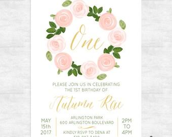 First Birthday Baby Girl Invitation DIY Photo Printable