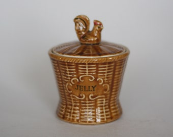 vintage ceramic jelly jar with lid and rooster handle