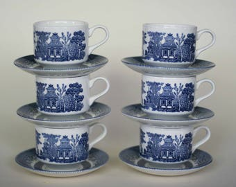 vintage churchill blue willow cups and saucers set of six made in staffordshire england