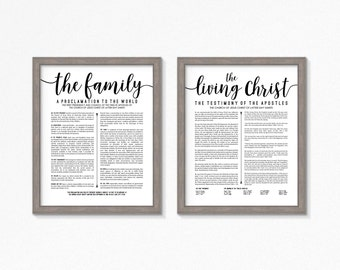 LDS The Living Christ and Family Proclamation Printable-Black Text-Choose your Sizes-Digital Files-LDS poster printables
