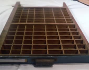 Vintage Ludlow Printer's Letterpress Type Tray Drawer Shadow Box w 98 Compartments