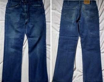 Vintage 80s Levis 516-0914 Blue polycotton denim zip up Straight Leg usa made 34 X 30 Jeans