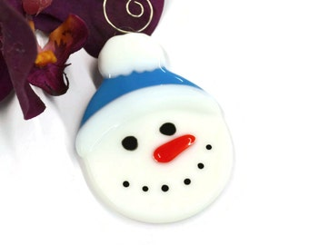 Snowman Christmas Ornament, Fused Glass, Christmas Decor, Tree Decor