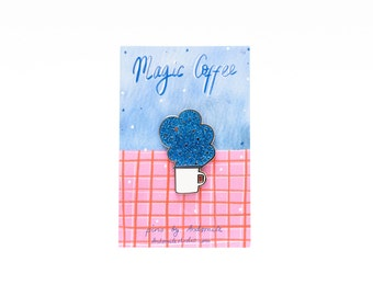 Magic Coffee Glitter Enamel Pin