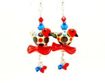 Red Spotted Bird Dangle Earrings, Bird Earrings, Lampwork Earrings, Polka Dot Earrings, Glass Bead Earrings, Beadwork Earrings