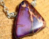 Sea Sediment Jasper in Purple Shades on Silver Plated Chain, Purple Necklace, Sea Sediment Jasper Gemstone, Short Necklace,  Male or Female