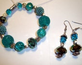 RESERVED For FoothillCrafters - Teal Bracelet and Earring Set