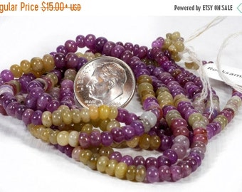 ON SALE Sapphire Beads Smooth Rondelles Roundels Maroon Straw Gold Ivory Grade B Mined Precious Stone - 3 to 4mm - 3.5 or 7-Inch Strand