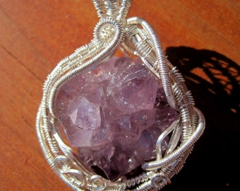 Crowning Glory///Raw Amethyst Cluster and Sterling Silver Wire Wrap Pendant, One of a Kind, Handmade, Art