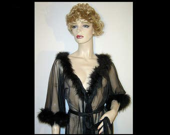 60s 70s Claire Haddad sheer black chiffon robe ~ Small Medium ~ marabou feather trim ~ long sexy belted wrap gown negligee ~ Made in Canada