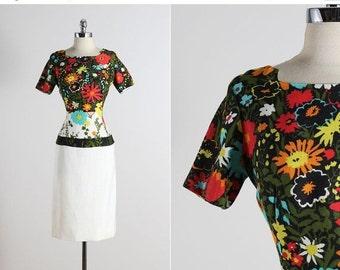 30% SALE Jeanette Alexander . vintage 1960s dress . vintage floral dress . 5529