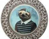 "SALE - Imperfect - Sylvia Sloth School Portrait Plate 7.4"""