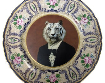 Timeless Tiger Altered Antique Plate 10.75""