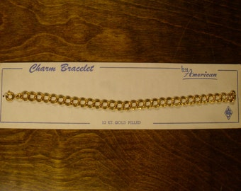 Vintage 1960's  Gold Filled Charm Bracelet Deadstock