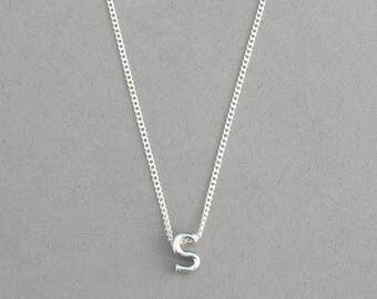 Rhodium Initial s Necklace