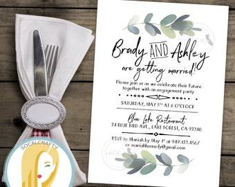 Eucalyptus Engagement Party Invitation, Bohemian Invite, Boho, Watercolor, Bridal Shower, Nature, DIY, Printed or Printable Invitations