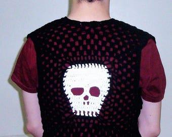Skull Festival Clothing Men Fringe Vest, Burning Man Mens Hippie Clothes, music festival mens Birthday Gift hippie gifts for man skull gift