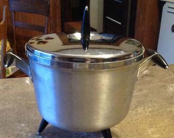 Atomic Space Age Vintage Spun Aluminum Ice Bucket Bowl Black Handles