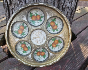 FLORIDA Vintage Metal Souvenir Drink Tray, Gold & White, 11 in