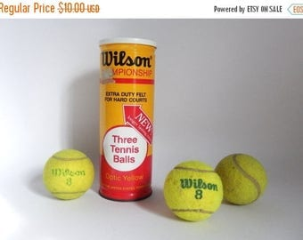 Vintage 1970's Set of 3 Wilson Tennis Balls in Metal Can