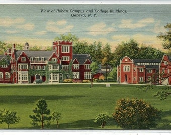 Hobart College Campus Geneva New York linen postcard