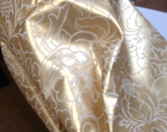 BASK259.  Gold and Cream Embossed Floral Leather Cowhide Partial