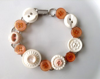 Peaches and Cream button bracelet