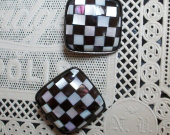 Vtg Clip Earrings - Signed Carlisle, Checkerboard, Black & White MOP, Inlaid