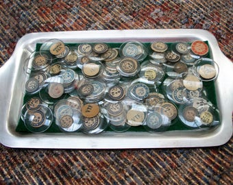 90 VTF Glass Domed Watch Crystals in Silver Plate Tray - NOS