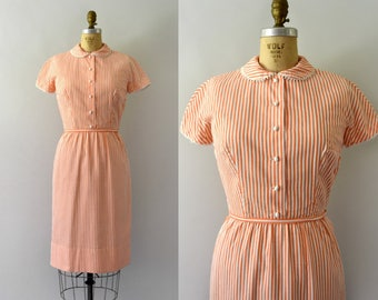 Vintage 1960s Dress - 60s Orange and White Striped Cotton Wiggle Dress