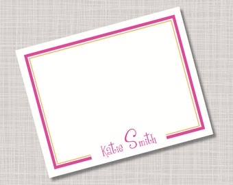 Custom Fun Modern Name Border Note Cards
