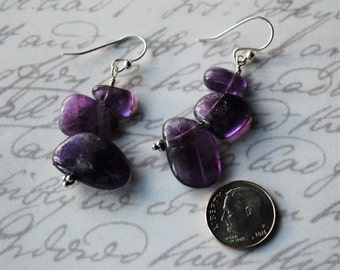 Three Deep Purple Smooth Amethyst Nugget Stack with Sterling Silver Earrings