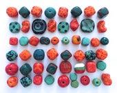 Kazuri Beads, 50 Kazuri Beads, Orange Red and Teal Coloured Ceramic Beads, Kazuri African Beads No. 266