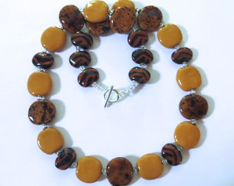 Ceramic Necklace, Kazuri Bead Necklace, Brown Kazuri Necklace