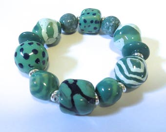 Kazuri Bangle, Teal Green and Light Blue Ceramic Bracelet