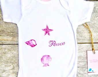 Kids - Sea Shells - Ocean - Beach - Baby - Onesie