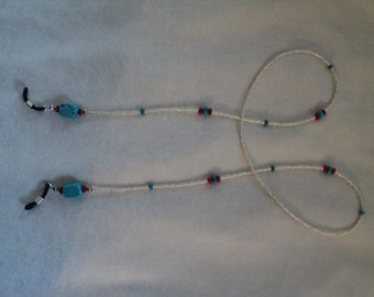 Turquoise and Red Coral Eyeglass Chain - Keep Track of Your Glasses - Great Gift!!
