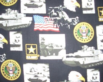 United States Army-  Cotton Fabric - 14 inches wide - sold by the yard