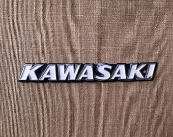 "Vintage KAWASAKI 1970s Metal Name Plate 7-1/2"" Long - Motorcycle Car Machinery ID - Wall Plaque Steampunk Art Object"