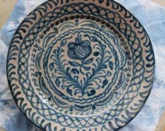 Hand Painted German Pottery Folk Art Plate