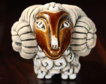 "Reserved For LUNA   Leps Peruvian Clay Art ""Aries"" Ram Figurine"