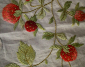 Antique society work stump work linen strawberries